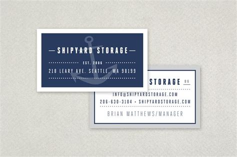 Nautical Business Card Template by Self Storage Business Card Template Anchor Nautical