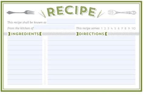 word recipe card template 21 free recipe card template word excel formats