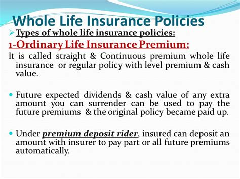 whole life policy life insurance policies whole life insurance ppt download