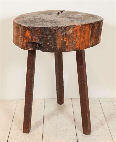rustic wood block tall side table  stdibs