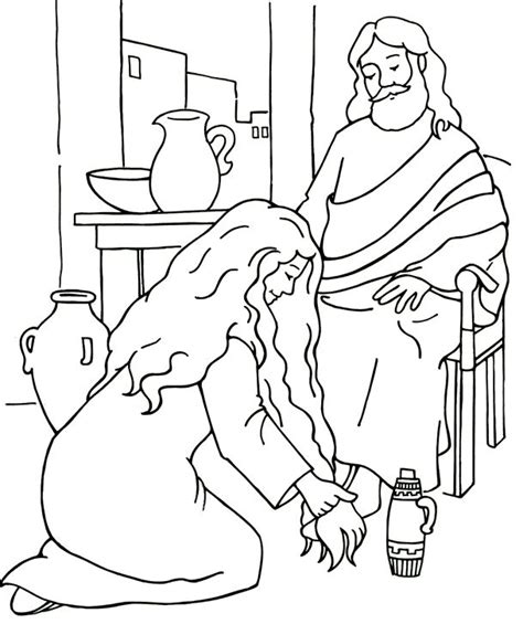 mary anointing jesus feet coloring page coloring pages