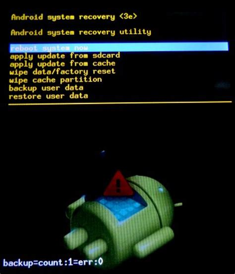 android system recovery 3e backup inside system recovery menu