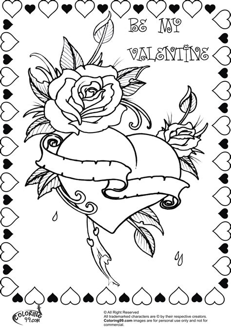 bbeautiful rose heart valentine coloring pages for adults