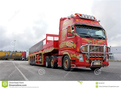 red volvo truck red volvo fh with special trailer editorial photography