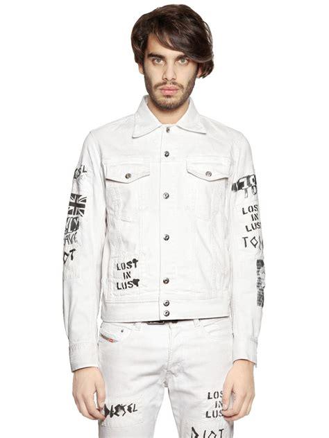 Jaket Jaket Levis Denim Hoodie 001 lyst diesel patched painted stretch denim jacket in white for