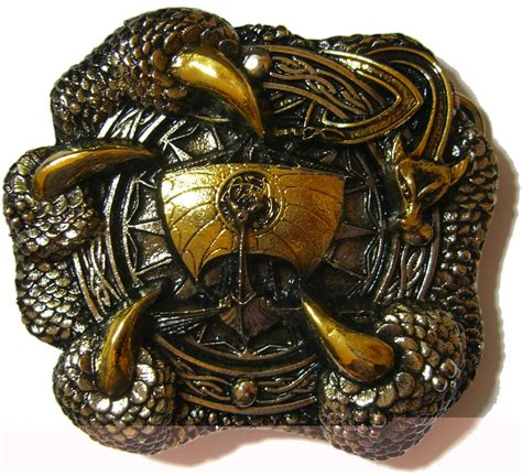 24ct gold amp silver plated viking dragon claw belt buckle