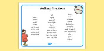 walking directions direction writing word mat esl directions