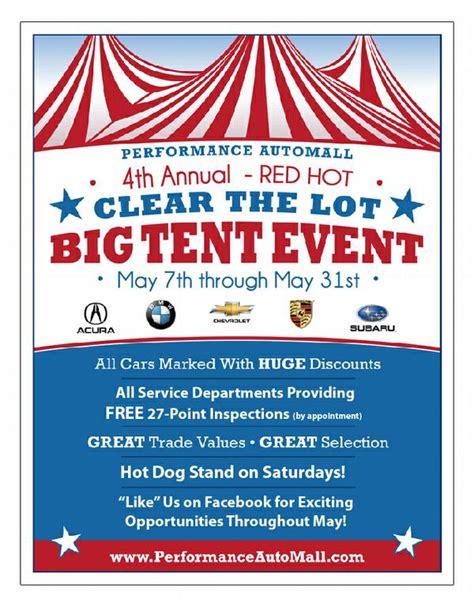 performance chevrolet chapel hill big tent event flyer from performance chevrolet in chapel