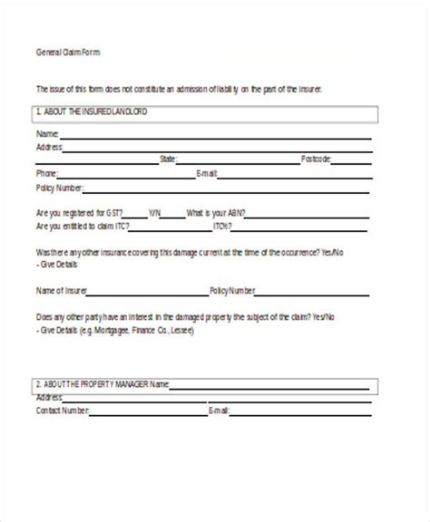 claim form in word 32 claim forms in word