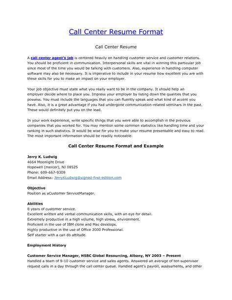 Resume Format For Call Center 10 resume sle for call center writing resume sle