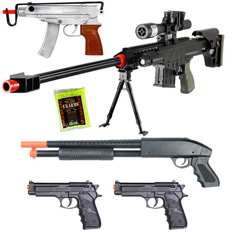 Airsoft Gun New Lot Of 5 Airsoft Guns Sniper Rifle Shotgun Machine Pistols 1000 6mm Bbs Ebay
