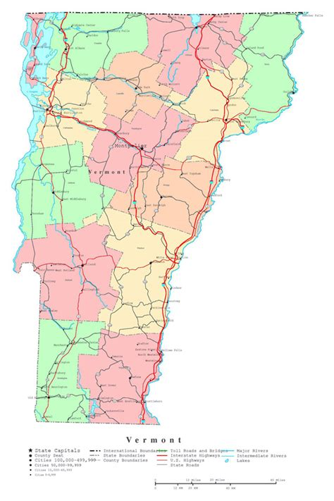 map usa vermont large detailed administrative map of vermont state with