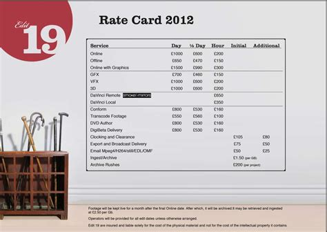 agency rate card template fashioned rate card template images simple resume