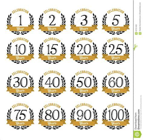 Anniversary Badges Gold And Black Color Stock Vector