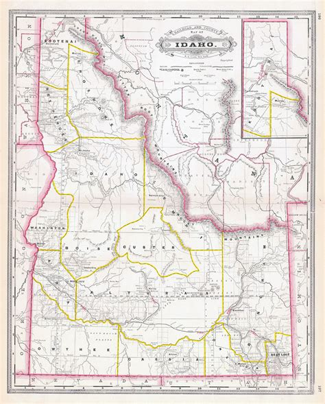 printable idaho road map large detailed old administrative map of idaho state