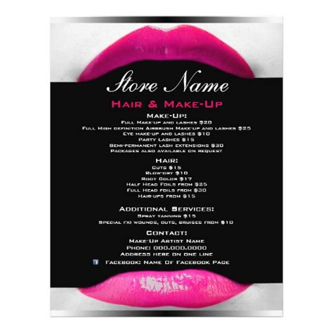 makeup artist flyers templates make up artist salon list of services flyer zazzle