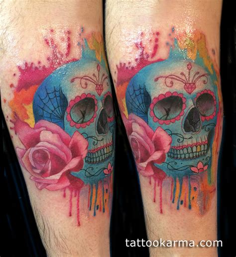 watercolor skull tattoo design watercolor sugar skull