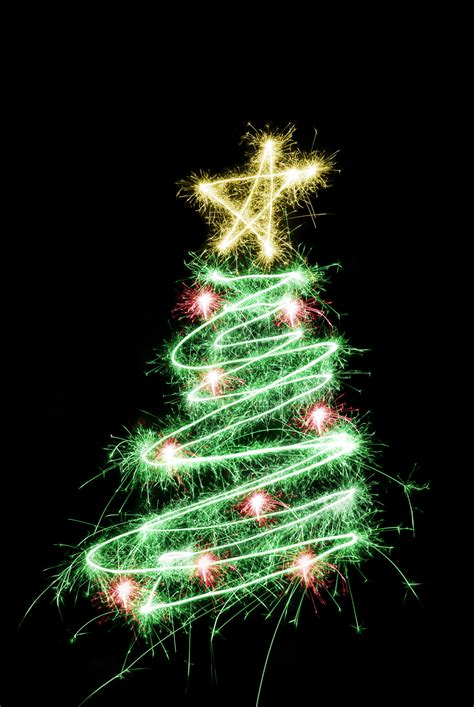 photo of sparking star tree free christmas images