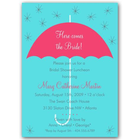 umbrella wedding blue bridal shower invitations paperstyle