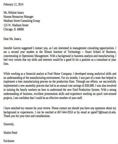 consulting cover letter format sle consulting cover letter 8 exles in word pdf