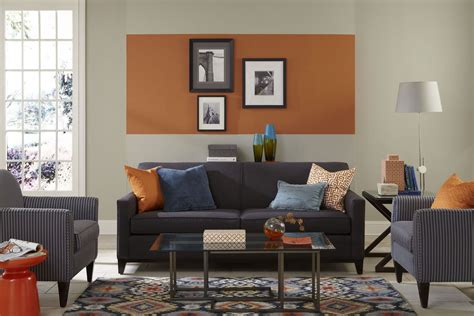 this living room features an unexpected pop of sherwin