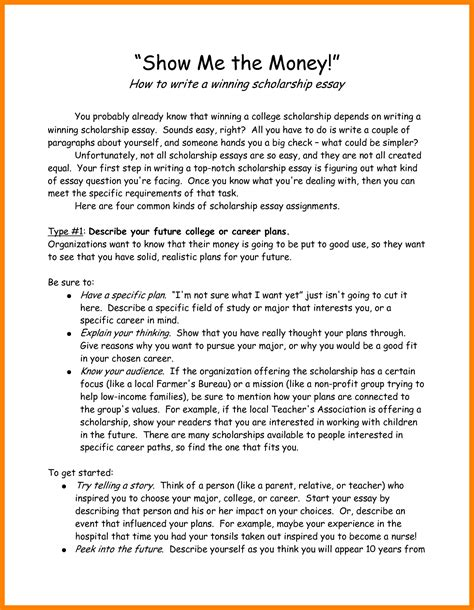 Scholarship Essay Template Exles winning scholarship essays sles 28 images writing