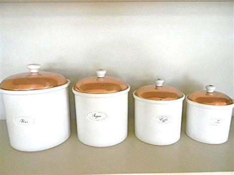 white kitchen canisters sets vintage white and copper kitchen canister set