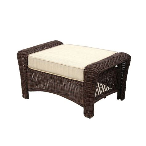 garden ottoman hton bay park meadows brown wicker outdoor ottoman with