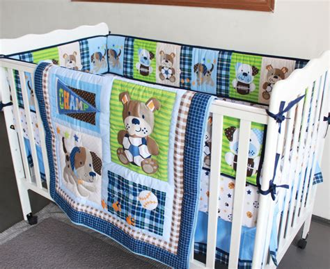Crib Bedding Sets Boys 2015 New 4 Pieces Baby Boy Crib Bedding Set Animal Quilt Bumper Fitted Sheet Bedskirt
