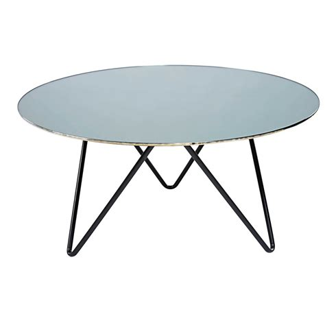 black metal and mirror effect tempered glass coffee table