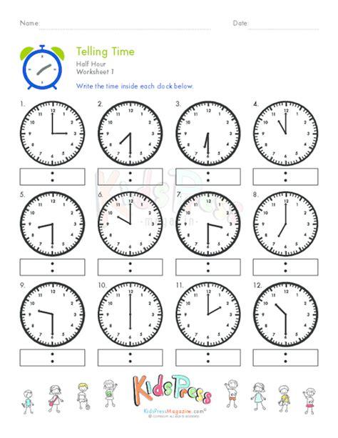 clock worksheets by the hour telling time half hour worksheet 1 kidspressmagazine com