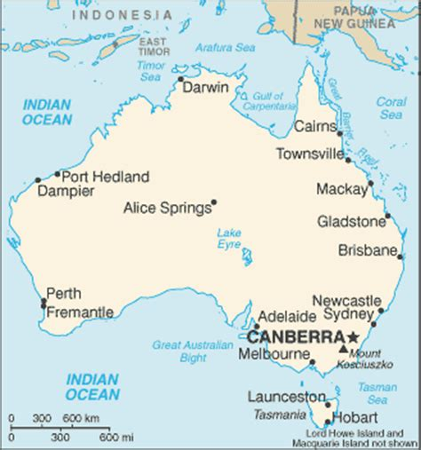 australia map with country names and capitals geography for australia