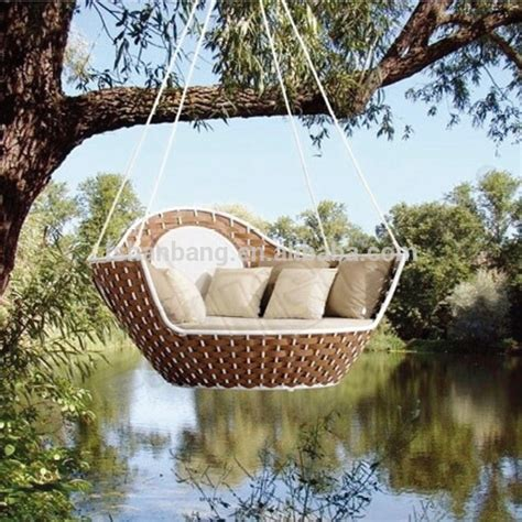 round swing bed oudoor wicker round hanging basket swing chair and bed