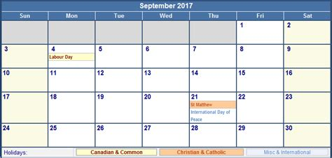 Buy Calendars Canada September 2017 Calendar Canada Yearly Calendar Printable