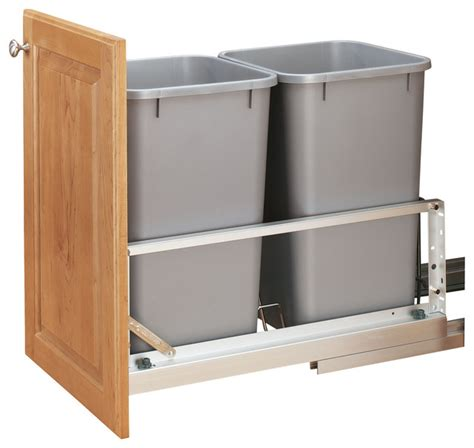 kitchen cabinet storage containers rev a shelf double 27 quart pullout waste containers