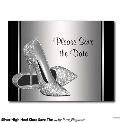 Silver High Heel Shoe Save The Date Annou Ement Postcard