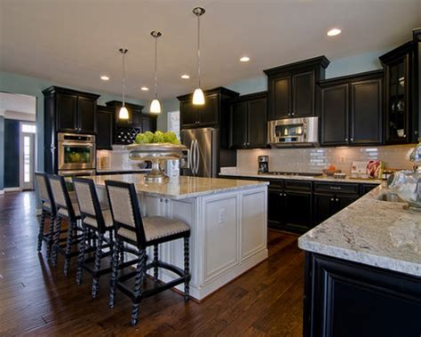 black kitchen decorating ideas elegant white island and black cabinets combination for