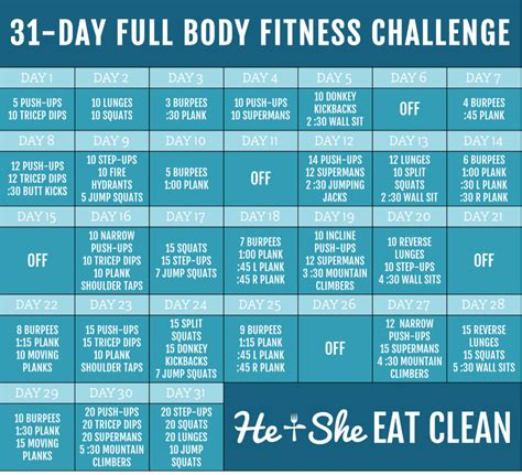 30 day fitness challenges for 31 day fitness challenge he she eat clean