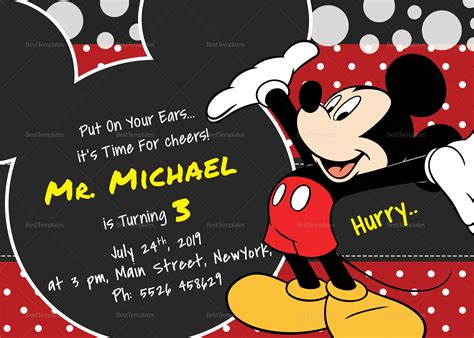 Mickey Mouse Card Template by Delightful Mickey Mouse Birthday Invitation Card Design