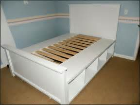 Easy Bed Frame With Storage Diy Size Platform Bed With Storage Plans