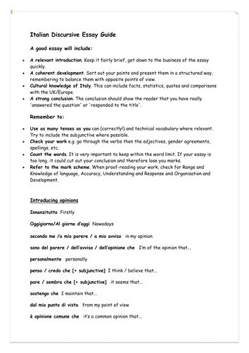 Italy Essay by Italian Discursive Essay Guide As A2 Edexcel By Roberamy Teaching Resources Tes