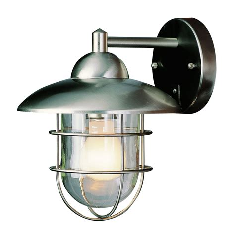 One Light Stainless Steel Outdoor Lantern With Clear Glass Outdoor Globe Lighting