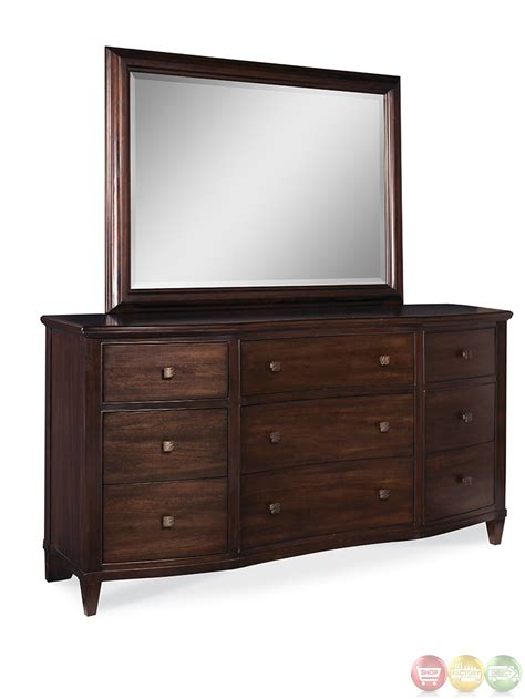 Nine Drawer Dresser by Intrigue Transitional 9 Drawer Serpentine Design Dresser
