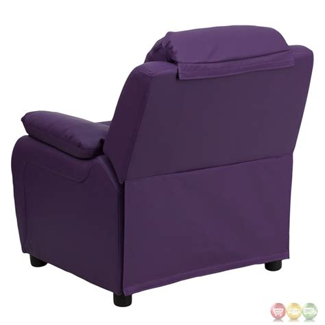 purple kids recliner deluxe heavily padded contemporary purple vinyl kids