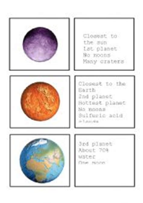 solar system trading cards template the planets worksheets