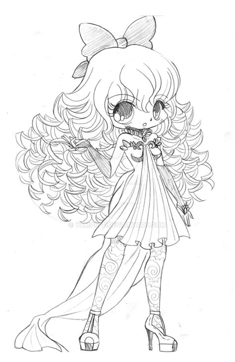 coloring pages of curly hair curly haired chibi commission sketch by yampuff on