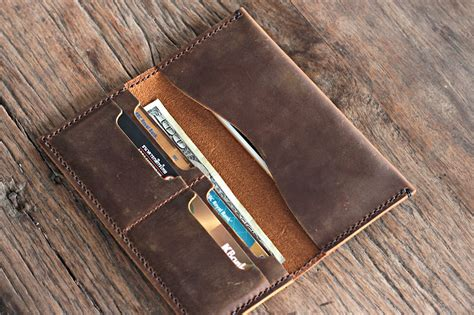 Handmade Leather Iphone Wallet - handmade leather iphone 6 plus wallet clutch by joojoobs