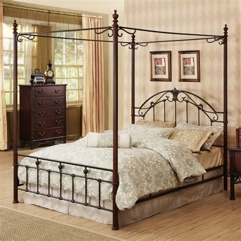 metal and wood bedroom furniture oxford creek queen size wood and metal canopy bed home