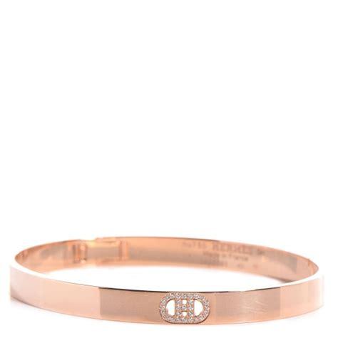 HERMES 18k Rose Gold Diamond H D'Ancre Small Bracelet PM 84841