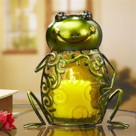 colored glass metal candle holder frog home decor